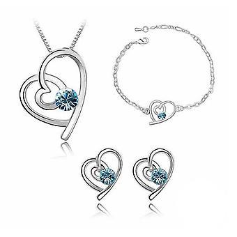Nebeská modrá stříbrná láska srdce tematicky šperky náhrdelník a náušnice Set BGCW53