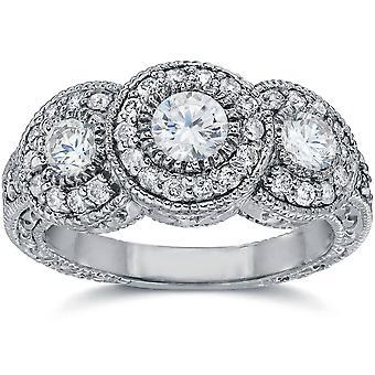 1 1/2ct וינטאג ' טבעת אירוסין יהלום שלוש קאראט 14 k זהב לבן
