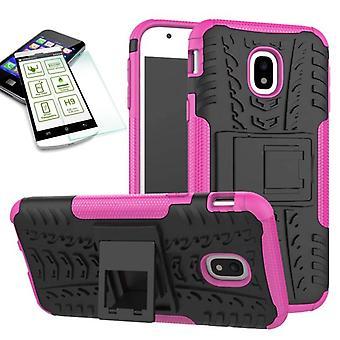 Hybride 2 stuk SWL case roze voor Samsung Galaxy J3 2017 J330F + gehard glas