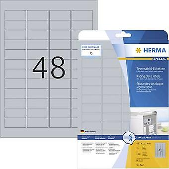 Herma 4221 Labels 45.7 x 21.2 mm Polyester film Silver 1200 pc(s) Permanent Nameplates Laser, Copier