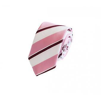 Schlips Krawatte Krawatten Binder 6cm rosa weiß weinrot gestreift Fabio Farini