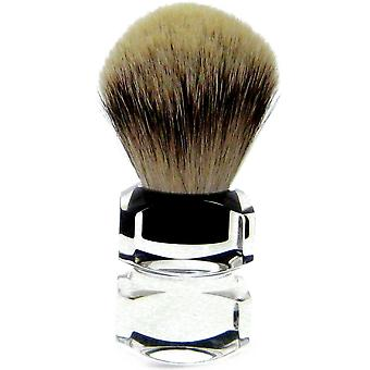Maniglia oro pennello da barba con acrilico argento punta Badger