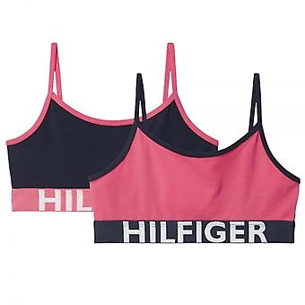 Tommy Hilfiger Girls 2 Pack Bold Bralette, Rouge Red / Navy Blazer, X-Large