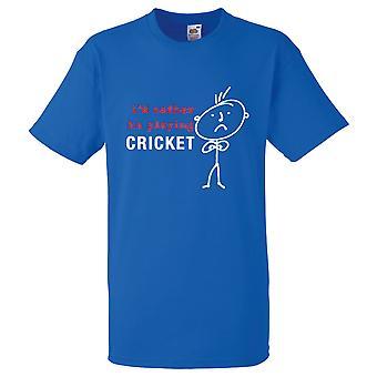 Män skulle jag snarare att spela Cricket Royal Blue Tshirt