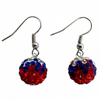 Independence Day USA Flag Color Pave Ball Red White Blue Earrings