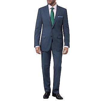Dobell Mens Mississippi Blue 2 Piece Suit Tailored Fit Notch Lapel