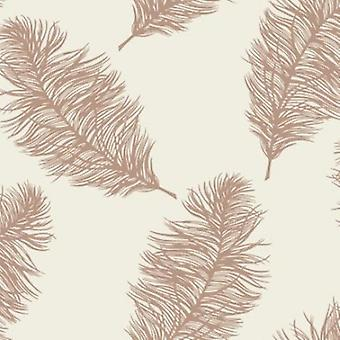 Schmeichelnde Feder Creme Rose Gold metallischer Schimmer Wallpaper Feature Holden Dekor
