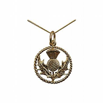 9ct Gold 17mm Scottish Thistle Pendant with a twisted wire surround with a curb Chain 20 inches