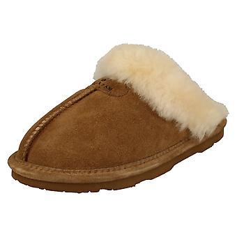 Ladies Bear Paw Leather Lined Mule Slippers Loki II