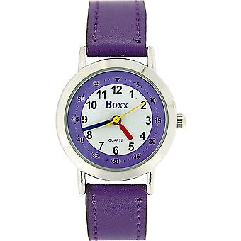 Boxx Girls Easy Read Analogue White Dial & Purple Fabric Strap Buckle Watch
