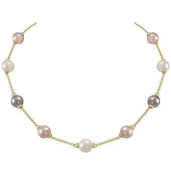 Eternal Collection Knightsbridge Multi Coloured Shell Pearl Gold Tone Necklace