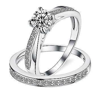 925 Sterling Silver Twisted Milgrain Engagement And Band Ring Set