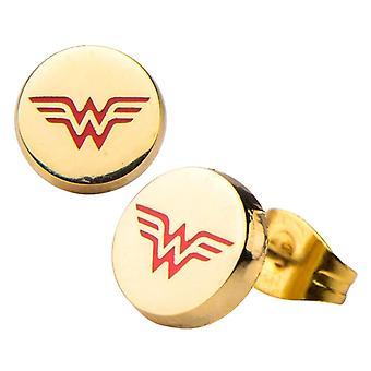 DC Comics Wonder Woman Logo Gold Plated Stud Ohrringe