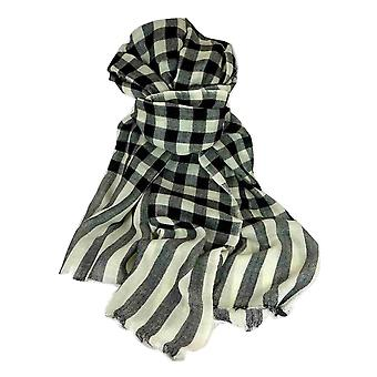 Cashmere Scarf Jammu Check in Black & Cream by Pashmina & Silk