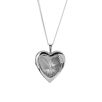 Eeuwigheid sterling zilver rhodium plated Heart Diamond Cut medaillon en 18 ketting