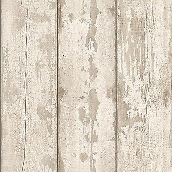 Washed Wood Effect Wallpaper Wooden Boards Planks Faux Grain Distressed Arthouse Beige/White