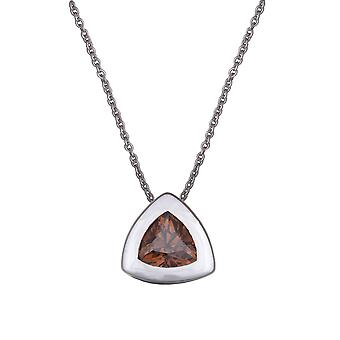 PENDANT WITH CHAIN TRIANGLE 925 SILVER AND BROWN ZIRCONIUM