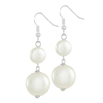 Eternal Collection Etiquette White Shell Coin Pearl Silver Tone Drop Pierced Earrings