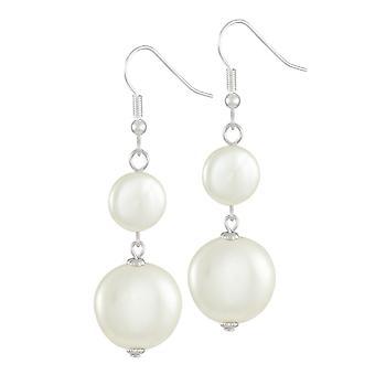 Eternal Collection etiketti valkoinen kuori kolikon Pearl Silver Tone Drop lävistetyt korva korut