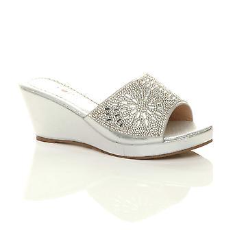 Ajvani Womens mid wedge heel diamante slip on evening platform sandals