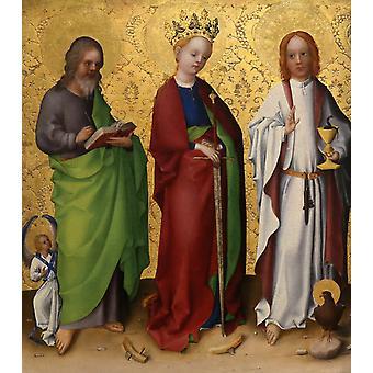 Saints Matthew,Catherine of Alexandria,Stefan Lochner,50x44cm