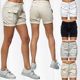 Women's denim shorts Cargo Jeans trousers with pockets cotton stretch mix pants