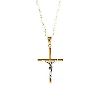 Eternity 9ct 2 Color Gold Crucifix Pendentif et 16'' Trace Chain