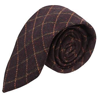 Luxe Merlot rode Tattersall Check Tweed Tie