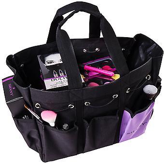 حقيبة يد شاني الجمال وحقيبة منظم ماكياج - حمل السفر كبيرة ذات لونين مع 2 مقابض و 8 جيوب خارجية - قماش أسود