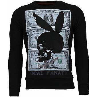 Spela Bunny 69-rhinestone Sweatshirt-svart