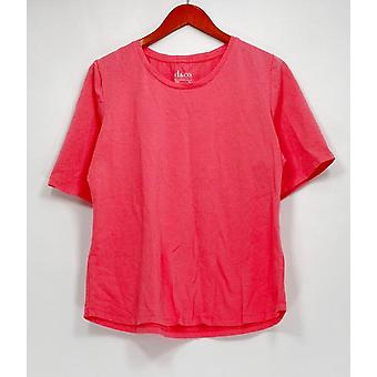 Denim & Co. Top Essentials Krótki rękaw Crew Neck Pink A302899