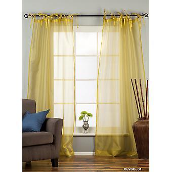 Olive Gold Tie oberen schiere Gewebe Vorhang / drapieren / Panel - 84