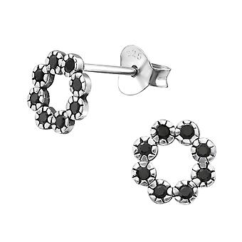 Circle - 925 Sterling Silver Cubic Zirconia Ear Studs - W30815X