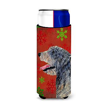 Irish Wolfhound Red and Green Snowflakes Holiday Christmas Ultra Beverage Insula