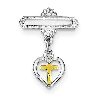 925 Sterling Silver Solid Polished Dangling Love Heart With 14k Gold Plated Religious Faith Cross Pin Jewelry Gifts for