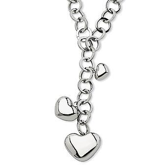 Edelstahl Fancy Hummer Verschluss poliert Liebe Herzen Y Halskette 28 Zoll Schmuck Geschenke für Frauen