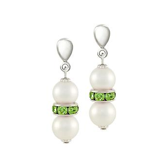 Eternal Collection Kaleidoscope Peridot Green Crystal Shell Pearl Silver Tone Drop Clip On Earrings