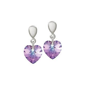 Eternal Collection Amour Vitrail Light Crystal Heart Silver Tone Drop Screw Back Clip On Earrings