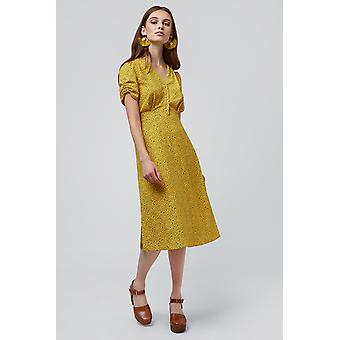 Louche Chantal Mini Fleur Midi Tea Dress Yellow