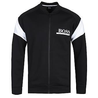 BOSS Kontrast schwarz College Zip-Through Bomber Sweatshirt
