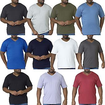 Duke D555 Mens Signature King Size Big Tall Combed Cotton V Neck T-Shirt Top