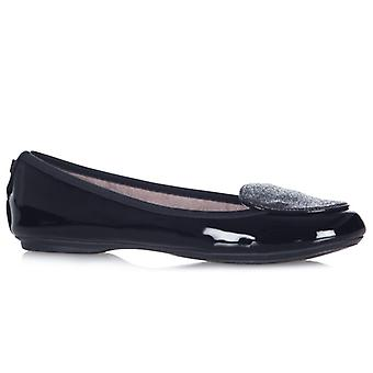 Butterfly Twists Evie Ladies Patent Ballerina Shoes Black
