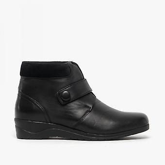 Dr Keller Nadia Ladies Leather Ankle Boots Black