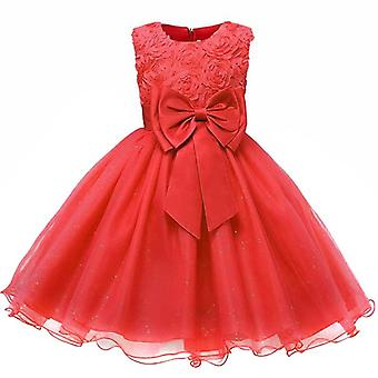 Festive dress with rosette and flowers-red