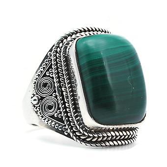 Ring Silber 925 Sterlingsilber Malachit grün (KLE-RI-311)