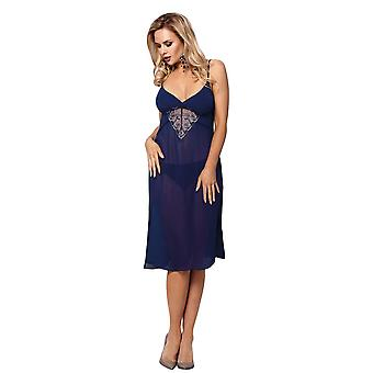 Vena VHL-370 Women's Navy Blue Floral Embroidered Nightdress
