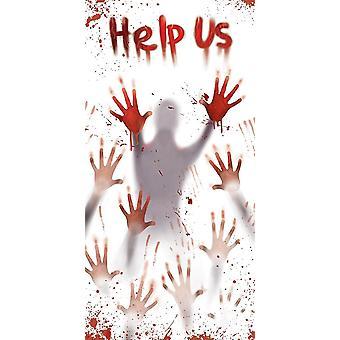 Halloween Door Panel Blood Help Us