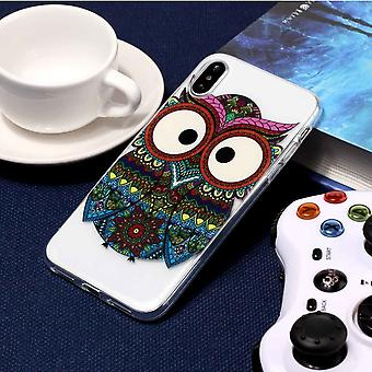 Voor iPhone XS, X Case, Tribal Owl Transparante duurzame beschermhoes