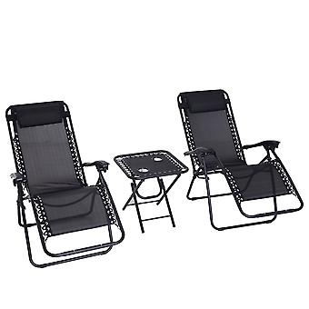 Outsunny 3pcs Reclining Folding Garden Zero Gravity Chairs Sun Lounger Set with Table Cup Holders Yard Pool Black