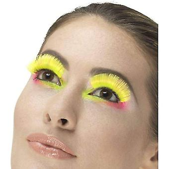 80s Party Eyelashes Adult NeonYellow
